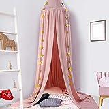 Ciel de Lit Bébé Enfant Tente de Lecture Coton avec Etoile Fille Décoration Chambre à Coucher 240cm*275cm Rose