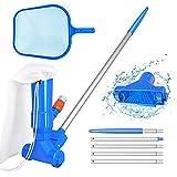 Kit d'entretien de piscine avec aspirateur et écumoire de piscine, 5 poignées de manche, sac à feuilles - kit d'entretien portable pour piscine hors sol, bassin, nettoyage de fontaines
