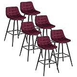 WOLTU 6 X Tabouret de Bar Style Bistro Chaise Haute pour Bar Assise rembourrée en Velours Doux avec Cadre en métal,Bordeaux BH143bd-6