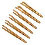 JZK 6 X Petites Pinces Alimentaires en Bambou Pince à Pain en Bois Pince Grille-Pain Pinces de Cuisine Pince à Thé Cornichons Pinces Pince à Bacon, Pinces de Cuisson