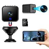Mini Caméra Espion WiFi 1080P sans Fil Caméras de Surveillance Vision Nocturne et détection de Mouvement Caméra de sécurité avec Carte TF de 32 Go