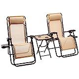 AmazonBasics Lot de 2fauteuils relax pliants avec table d'appoint, Marron clair