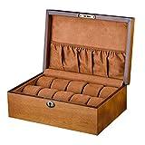 FFYN Montres Accessoires Boîte de Rangement pour Montres en Bois pour Hommes/Femmes Grande boîte à Bijoux de Montre d'oreiller Standard à 10 grilles avec Serrure pour Voyage ou vitrin