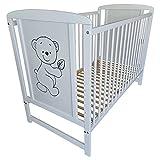 Bello Happy Lit bébé à barreaux Blanc massif 120 x 60 cm