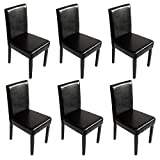 Mendler Lot de 6 chaises de séjour Littau, Simili-Cuir, Noir, Pieds foncés