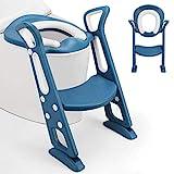 Fascol Siège de Toilette Enfant Pliable, Pot Enfant Réglable, Convient aux toilettes V, O, U, Reducteur Toilette pour Enfant de 1 à 8 Ans, Charge Maximale 75 kg, Bleu