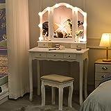 Tiptiper Ensemble de Coiffeuse, Coiffeuse Moderne avec Miroir à Tri-Plier et 10 LED Lumière Dimmable, Table de Maquillage avec Tabouret & 5 Tiroirs, pour Fille Femme, Blanc