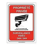 AUA SIGNALETIQUE - Autocollant Propriété privée sous surveillance vidéo 24H /24 - 75x105 mm, Vinyl adhésif