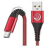 Câble USB C [2M,Lot de 2]-Chargeur Type C Cable 3A Charge Rapide Cordon Solides Nylon Tressé pour Samsung GalaxyS21 S20fe S8 S9 S10 A51 A70 A90 Note, Huawei P40 P30 P20,Xiaomi Redmi, Sony Xperia-Rouge