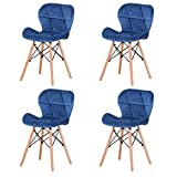 Lot de 4 chaises de salle à manger, de chambre, de bureau, de restaurant, de luxe, gris clair, bleu, vert foncé (bleu)