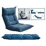 Fauteuils Lazy canapé lit Simple Tatami Pliable lit Balcon Chambre Ordinateur dortoir Chaise Baie vitrée Home canapé Confortable (Color : Blue, Size : 55 * 52 * 60cm)