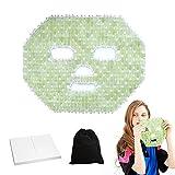 Bsopem Masque de sommeil anti-âge en jade naturel réutilisable pour les yeux, masque rafraîchissant pour les yeux, réduit la fatigue oculaire et détoxifiant