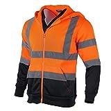 FONIRRA Sweat à Capuche de Travail Réfléchissant Haute Visibilité pour Hommes avec Zippé à Manches Longues Pull de Sécurité Veste(Orange,3XL)