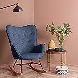 Fauteuil à bascule au design super confortable avec dossier haut et accoudoirs - Chaise de salon moderne pour chambre à coucher - Bleu