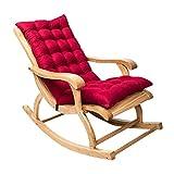 Coussin de chaise berçante, Coussin de chaise longue à dossier haut, Coussin fauteuil jardin epaissi, Rocking chair coussin 3D, Coussin pour chaise à bascule, fauteuil, sièges d'auto (Vin rouge, 1Pcs)
