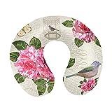 Cage à oiseaux vintage fleurs roses et papillons oreiller de voyage en mousse à mémoire de forme oreiller cervical pour avions à la maison et support de menton doux pour voiture - confortable et respi