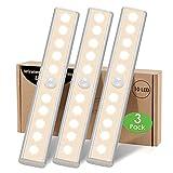 Lampe LED Detecteur Mouvement Interieur - 3 Paquet 10 LED Placard dressing Sans Fil Eclairage à Pile avec Adhesive Lampe Sous Meuble Cuisine pour Armoire Escalier Lumiere Automatique Veilleuse Chaud