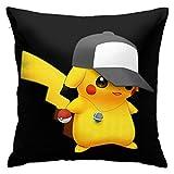 Pokemon Pikachu Novelty Unique Housse de Coussin pour canapé de Chambre à Coucher taie d'oreiller carrée décorative pour la Maison Impression Double Face 18 x 18 Pouces (45 x 45 cm) Pillow Covers