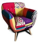 Volerro Shop Online Fauteuil design Patchwork multicolore, modèle Cassandra, revêtement de haute qualité, structure en bois, dimensions : hauteur 71 cm, largeur 65 cm, profondeur 56 cm