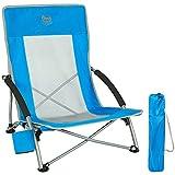 Timber Ridge Chaise de Plage Pliable Portable Fauteuil de Camping Basse Dossier Haut en Maille Ultraléger avec Sac de Transport Bleu