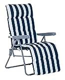 VIGIVISION Coussin pour chaise longue. Matelas transat matelassé 180 x 50 x 5 cm (rayures bleues).