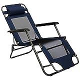 AMANKA Chaise Longue Pliable pour Camping et Jardin Transat Inclinables avec Repose-tête Couleur Bleu foncé Structure en Acier Poids Max. supporté 100 kg 153cm