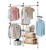 SoBuy® FRG34 Penderie Garde-Robe Portant de vêtement 3 barres 3 paniers largeur (160-195cm) x hauteur (103-278cm), Télescope Système Herkule
