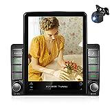 Autoradio Android 2 Din GPS CAMECHO 9,5 Pouces Écran Tactile Vertical Radio FM RDS Bluetooth WiFi Lien Miroir Lecteur Stéréo de Voiture + Câble Adaptateur ISO + Caméra Arrière AHD