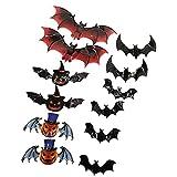 Nikula Grandes chauves-souris 3D autocollants bricolage Halloween Stickers muraux 45 tailles différentes effrayant chauve-souris sticker mural décor extérieur intérieur bricolage Halloween beneficial