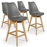 INTENSEDECO Lot de 4 chaises Hautes Style scandinave Catherina Gris - H65cm