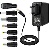 EFISH 12V 2A 24W Adaptateur d'alimentation du Transformateur,pour 12V Les Appareils Ménagers,CCTV Camera,Routers,Hubs,LED Strips,Telekom,T-COM,Speedport,Radiowecker,Scanner+7 Différents Bouchons