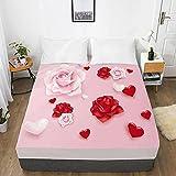 Drap-Housse de lit 3D, personnalisé, Simple, Double, Queen Size, avec Drap de lit élastique, literie Rose Rose Rose, pour mariageCustom Size