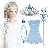 Vicloon 9pcs Upgrade Princesse Dress Up Accessoires pour Déguisement/Costume d'Elsa Perruque/Diadème/Gants/Baguette Magique/Bague/Boucles d'oreilles/Collier, 2-10 Ans Fillie