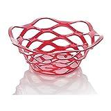 COLiJOL Mode Creux Fruit Basket Fruit Panier À Linge Drainable Ouvert En Plastique Fruit Rouge Du Bassin,Rouge
