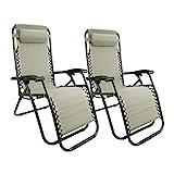 MaxxGarden Lot de 2 chaises Longues, Pliables et réglables, idéales pour Le Jardin, Le Balcon, Le Camping, la terrasse (Gris)