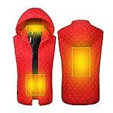Veste chauffée hivernée Gilet Smart USB Electrical Zone 5 Chauffage Therme Thermique Vêtements pour Hommes Femmes Ski extérieure, Randonnée pédestre, Chasse, Moto, Camping,Rouge,M