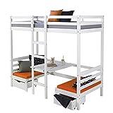 Lit enfant mezzanine superpos blanc 90x200 pin massif bureau avec coussins oranges