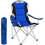 TecTake Chaise de Camping Fauteuil Pliable avec Porte-Boisson et Sac de Transport - Rembourrage en Mousse (Bleu) Ø Cadre: Environ 19 mm