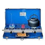 Camplux JK-5330 3 Brûleurs Réchauds de Camping, Portable Cuisinière à gaz, 4.5kW Fonctionne au Gaz Butane/Propane, Brûleurs de Cuisinière à Gaz de Voyage pour l'extérieur, Bleu