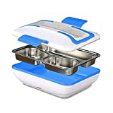 Boîte à Lunch Électrique Taille XL Détachable,Boîte à Lunch pour le Chauffage Portable avec Conservation des Aliments,Trois Couches de Nourriture Séparées Écologique Boîte à Lunch(Bleu)