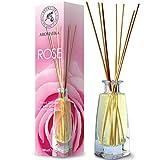 Diffuseur Parfum de Rose 100 ML - avec 8 Bâtonnets de Bambou - sans Alcool - Idéal pour Aromathérapie - Spa - Maison - Fragrance Fraîche et Durable