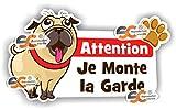 Sticker Attention Je Monte la Garde Autocollant Attention Chien Méchant Humour