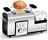 Grille-pain 2 tranches machine Sandwich Grille-pain en acier inoxydable à PAIN Réglage Defrost/Réchauffer/Annuler la fonction amovible Tiroir ramasse-miettes, 1200W XIUYU