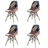 GroBKau Ensemble de 4chaises de salle à manger modernes tapissées de tissu patchwork avec base en bois chevillée pour salon/salle à manger/café/salle d'attente
