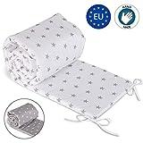 tour de lit bebe garcon - contour lit bebe respirant (Blanc avec des étoiles grises, 420 x 30 cm)