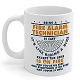 N\A Systèmes d'alarme Incendie 11oz Cadeaux Technician Blanc Tasse de café en céramique Hommes et Femmes Alarme Incendie Technici