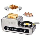 Grille-pain 2 Fentes Extra-larges et 6 Niveaux de Brunissage, Toaster Inox avec Poêle pour œufs durs/Sandwich/Bagel, 1230W (Argent)-Rozi