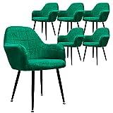 ECD Germany Lot de 6 Chaises de Salle à Manger - Assise Siège Rembourrée en Velours - Structure en Métal - Fauteuil avec Accoudoirs - Chaise de Salon - Chaises de Réception pour Bureau - Vert Foncé