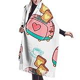 27'x77' châle écharpe Wrap petit déjeuner délicieux pain grillé de bande dessinée Womans châle wrap hommes mode écharpes de tête élégant grande couverture chaude