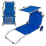Aktive Chariot de Plage Pliable Beach Chaise Longue à roulettes
